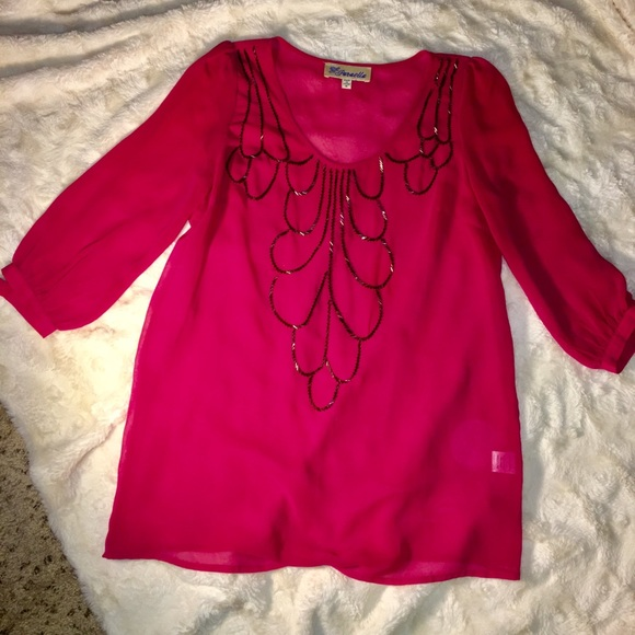b71a4289b93 Francesca's Collections Tops | Francescas Hot Pink 34 Sleeve Tunic ...